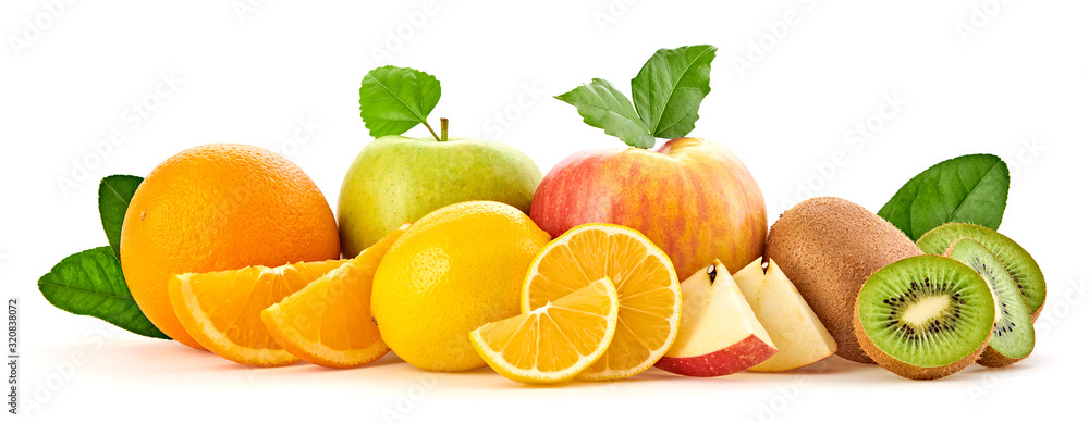 Fototapeta Fresh fruits healthy diet concept. Mixed vegan juicy food, green apple, orange isolated on white. Citrus freshly fruit for detox health juice or smoothie. Dieting background