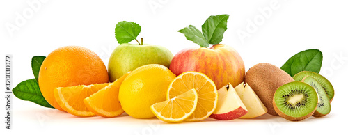 Obraz Fresh fruits healthy diet concept. Mixed vegan juicy food, green apple, orange isolated on white. Citrus freshly fruit for detox health juice or smoothie. Dieting background - fototapety do salonu