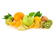 Fresh fruits healthy diet concept. Raw mixed vegan juicy food background, green apple, orange isolated on white. Variety of fresh citrus fruit for juice or smoothie. Detox health clean eating