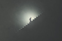 Man With Lamp Rising Stairs In...