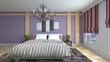 Bedroom interior. Bed. 3d illustration