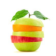 Stack of fresh fruits slices, apple, orange. Colorful healthy vitamin fitness creative fun food concept. Mixed citrus fruit, green apple isolated on white. Dieting health vitamin meal