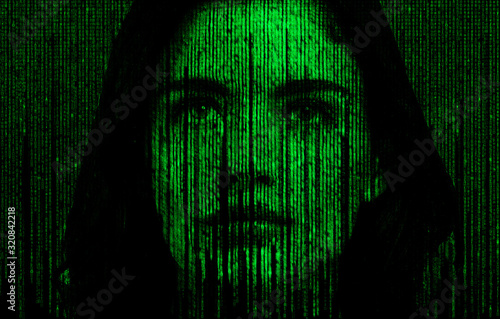 Female face with matrix digital numbers artifical intelligence AI theme with hum Wallpaper Mural