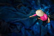 Woman Sew The Fishnet. Fisherm...
