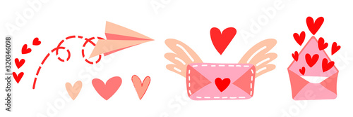 Fotografie, Obraz Set of vector illustrations of love messages for Valentine's Day