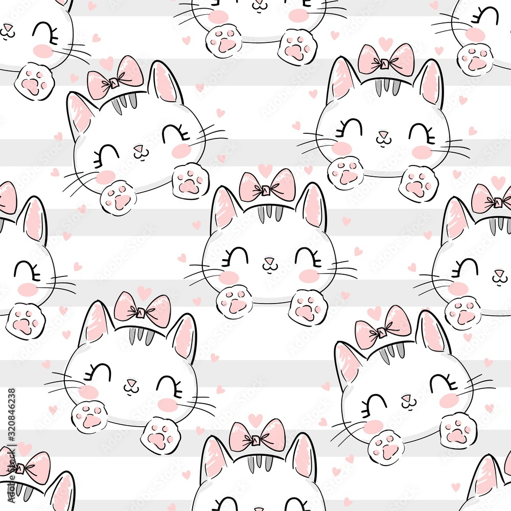 Fototapeta Cat with a bow on a background of stripes pattern. Vector Illustration print design cat, children print on t-shirt, sketch seamless.