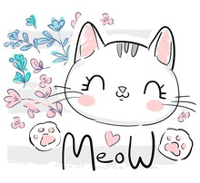 Kitten, Cute Cat And Flowers S...