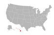 Hawaii island highlighted on USA political map. Gray background. Business concepts.
