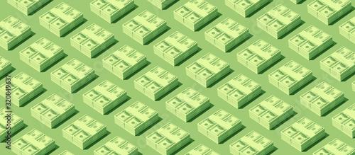 Fotomural Packs of cash dollars on green background