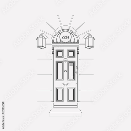 Door 221b icon line element Wallpaper Mural