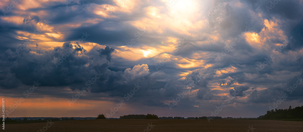 Fototapeta Climate change concept with asperitas storm clouds, banner