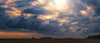 Leinwandbild Motiv Climate change concept with asperitas storm clouds, banner