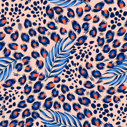 seamless-leopard-skin-pattern-with-tropical-leaves-vector