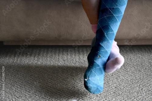 original and nonconformist child with mismatched socks Canvas Print