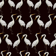 Seamless Pattern With White Herons.