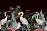 Obramowanie w stylu chinoiserie z bocianami i piwoniami. Wektor. - 320862058