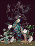 Border in chinoiserie style with peacock and peonies. Vector. - 320862645