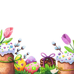 watercolor illustration for easter greeting card