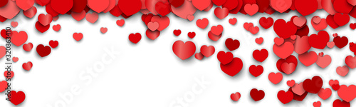 Valentines Day Background Design with Heart Stickers Scattered - 320863410