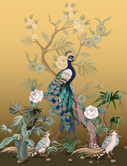 Fototapeta Malarstwo Border in chinoiserie style with herons, peacock and peonies. Vector.
