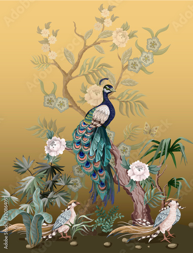 Obraz na płótnie Border in chinoiserie style with herons, peacock and peonies
