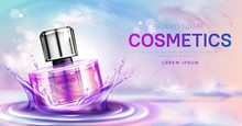 Cosmetics Perfume Bottle On Splashing Water Surface With Circles On Pink Cloudy Sky Background. Glass Spray Tube Package Promo Mockup Banner Design. Cosmetics Product Realistic 3d Vector Illustration