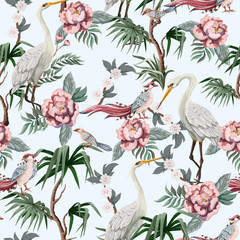 Naklejka Do sypialni Seamless pattern in chinoiserie style with storks, birds and peonies. Vector,
