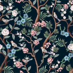 Panel Szklany Drzewa Seamless pattern in chinoiserie style with peonies trees and birds . Vector,