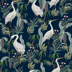 Fototapeta Współczesny Seamless pattern in chinoiserie style with storks, birds and peonies. Vector,