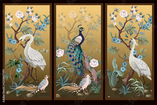 Obrazy do jadalni  folding-screen-in-chinoiserie-style-with-peacock-and-peonies-on-golden-background-vector