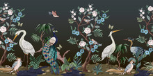 Border In Chinoiserie Style With Herons, Peacock And Peonies. Vector.