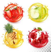 Set Of Fruit Juice Splash. Str...