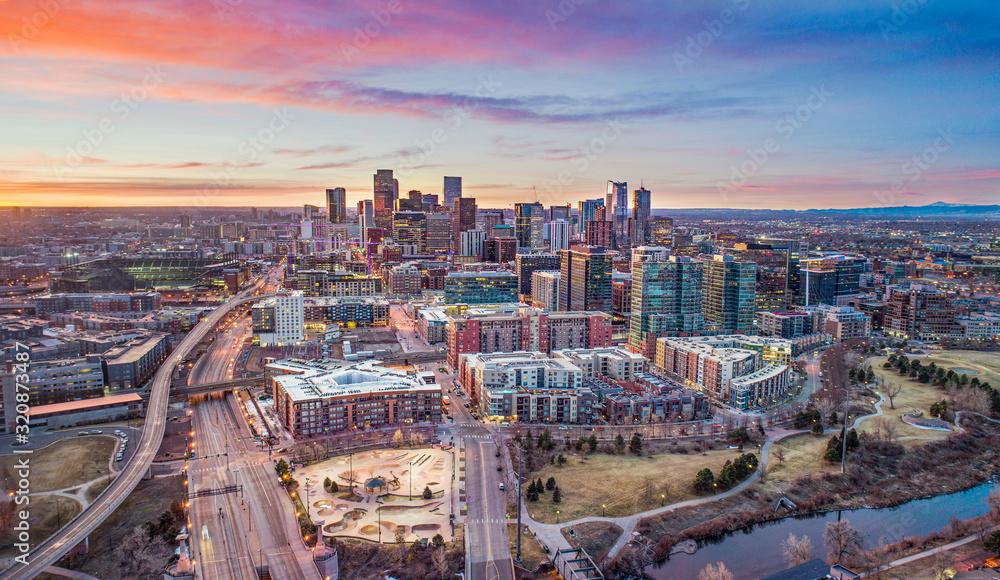 Fototapeta Denver Colorado CO Downtown Skyline Aerial