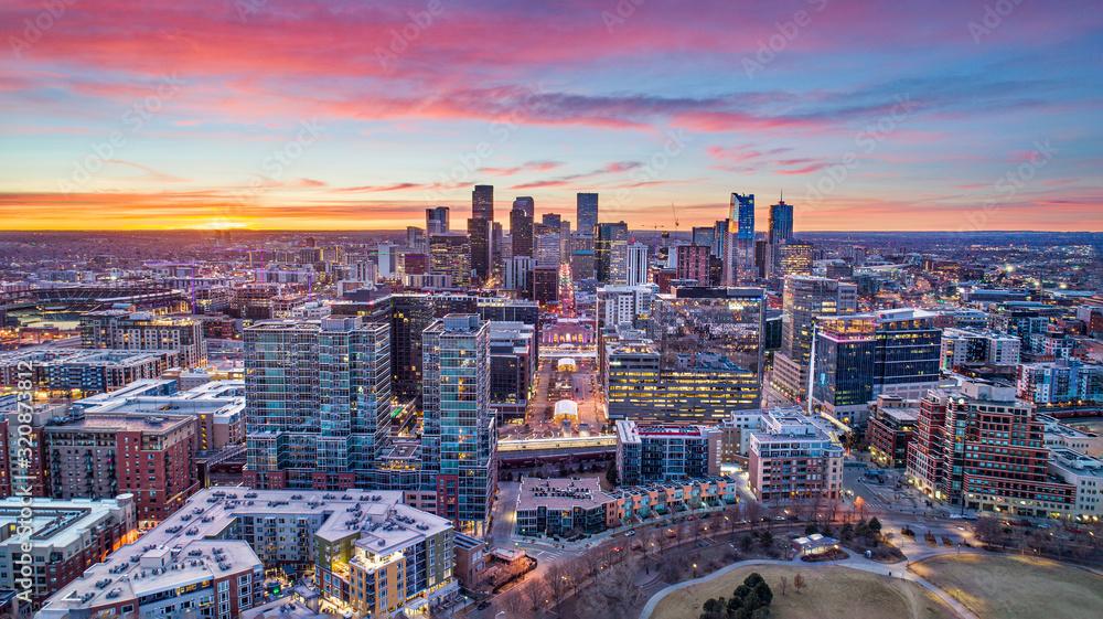 Fototapeta Denver, Colorado, USA Drone Aerial Skyline