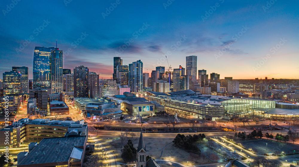 Fototapeta Denver, Colorado, USA Drone Skyline Aerial