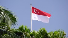 The Flag Of Singapore Blowing ...