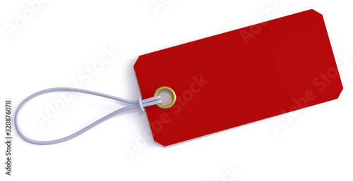 Red price tag with string 3d rendering Canvas Print