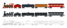 Vintage Train In Retro Style. Three Different Options: Colorful, Silhouette, Outline