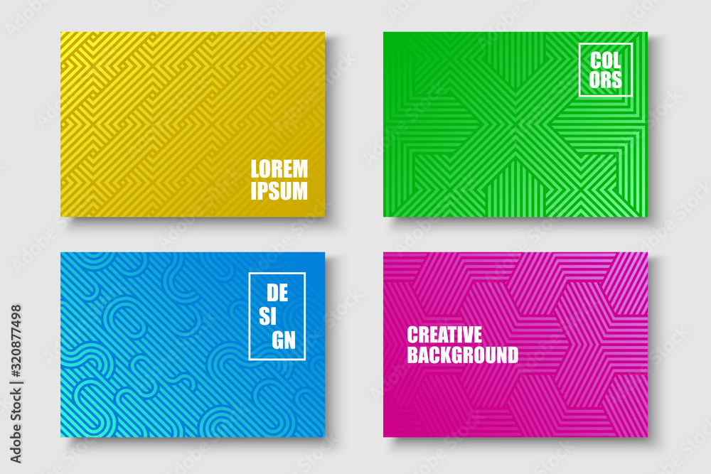 Fototapeta Collection of abstract colorful creative striped posters, templates, placards, brochures, banners, backgrounds, flyers and etc. Bright gradient covers for your ideas. Geometric weave design