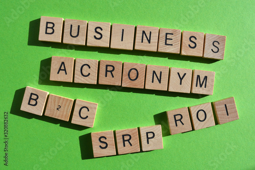 Photo Business acronyms, including B2C, Business to Consumer, SRP, Suggested Retail Pr