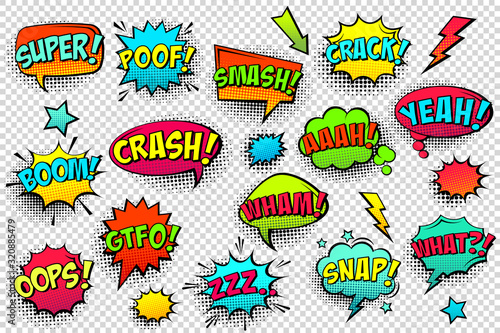 Comic colored speech bubbles with halftone shadow and text phrase. Sound expression of emotion. Hand drawn retro cartoon stickers. Pop art style. Vector illustration.
