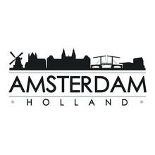 Amsterdam Holland Skyline Silh...