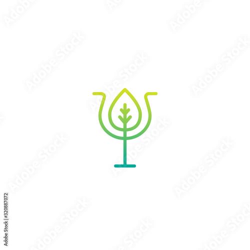 Green Greek letter Psi with leaf Tablou Canvas