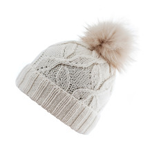 Beige Wool Knit Ski Hat With F...