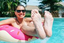 Woman Showing Feet Got Wrinkly