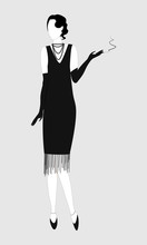 Silhouette Of A Girl Or Woman In Retro Style. Black-white Silhouette. Full-length Image. Girl With A Cigarette