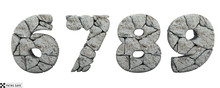 Stone Numbers 3, 4, 5. 3d Rend...