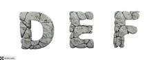 Stone Letters D, E, F. 3d Render. Rock Alphabet. Path Save.