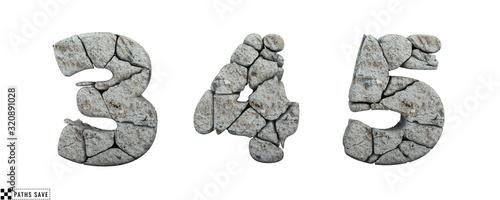 Fotografie, Obraz Stone numbers 3, 4, 5. 3d render. Rock alphabet. Path save.