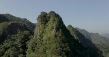 Xiaozishan Tropical Woodland Mountain Aerial View, Pingxi Trails In The Mountains Of Taiwan.